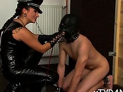 Boy receives tied up and waste dug in untamed femdom infatuation activity