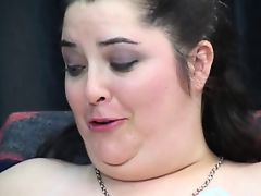Play dungeon slaver likes to tease this overweight girl's shaved cunt with sex-toy