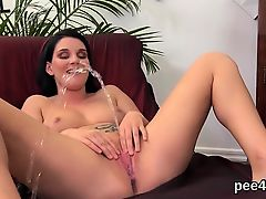 Awesome angel is peeing and rubbing shaved slit94bAA