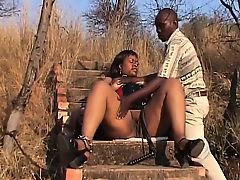 Bulky African Babe Dominated Outdoors Mortified